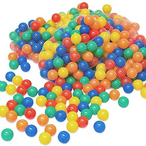 LittleTom Pelotas multicolores de plástico Ø6cm de diámetro | 100 pequeñas Bolas de colores para bebés | para llenar piscinas tiendas de campaña inflables para niños | mezcla de 5 colores amarillo rojo azul verde anaranjado | calidad comprobada
