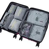 DoGeek Kleidertaschen Packing Cubes Satz von 7 Reise Kleidertaschen Verpackungswürfel Organizer Ideal für Seesäcke, Handgepäck und Rucksäcke-Grau
