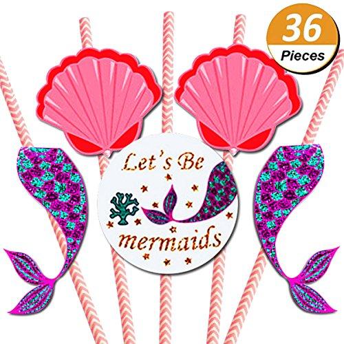 Mcree 36Stück Mermaid Papier Stroh Decor, Zauberhafte Meerjungfrau Baby Dusche Oder Geburtstag Party Gestreifter Deko, Trinkhalme 36Trinkhalme + 50Klar Aufkleber + 36Papier Karten