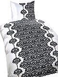 5 teilige Mikrofaser Bettwäsche 135x200 cm Ornamente weiß schwarz mit Reißverschluss und Bettlaken in 180-200x200 cm