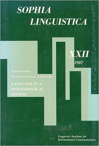 Language in a psychological setting (Sophia linguistica