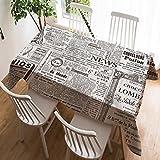 Violetpos Tischdecke Tischtuch Leinendecke Leinen Pflegeleicht Abwaschbar Schmutzabweisend Tischwäsche Werbung Künstlerisch Alte Zeitung Nachrichten 130 x 170 cm
