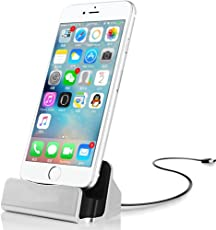 CABLESETC Charge Sync Stand Lightning USB Desktop Dock Cradle Apple iPhone 7 Plus 7 6S 6 Plus SE 5S 5 iPad Mini Air (Silver)