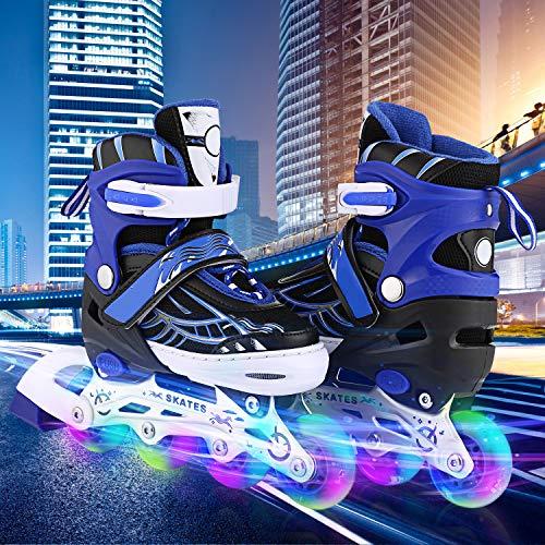 WeSkate Für Kinder / Erwachsene Acht Beleuchtungsräder Atmungsaktives Mesh Inline Skates Aluminium Rahmen Einstellbare Größen Rollschuhe für drei Größen 31-34 / 35-38 / 39-42 (Blau, 35-38)