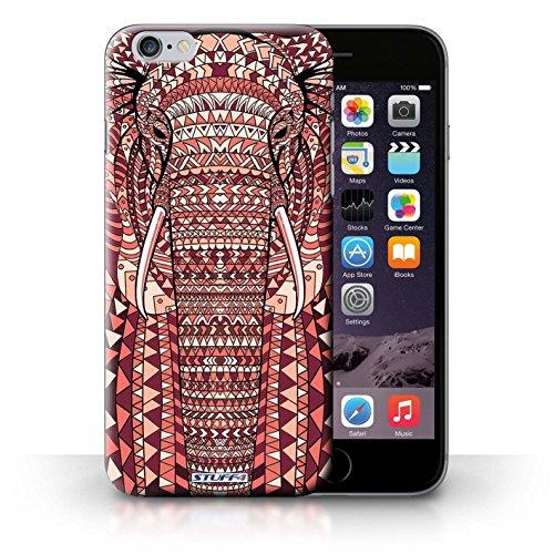 Hülle für iPhone 6+/Plus 5.5 / Wolf-Purpur / Aztec Tier Muster Kollektion Elefant-Rot