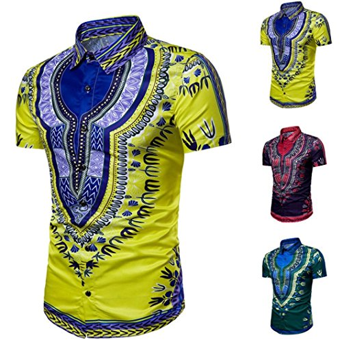 Chemises africaines Hommes Dashiki Graphique Hipster Hip Hop Top Blouse Malloom