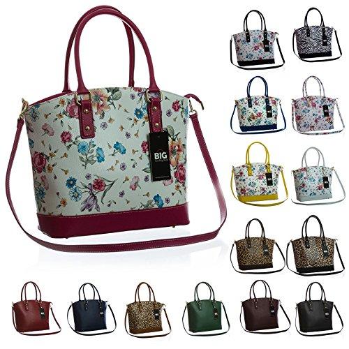 Big Handbag Shop-Cartella in pelle italiana, strutturato, maniglia superiore (Floral - Beige (BH152))