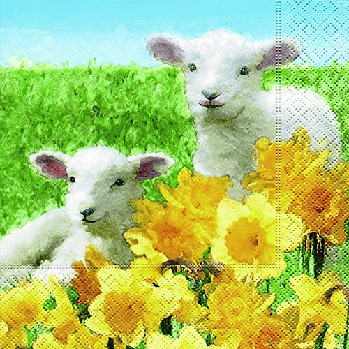 en Niedliche Lämmer (Cute lambs)1/4 gefalzt, 3-lagig Größe offen: 25x25 Ostern (Niedliche Halloween-cocktails)