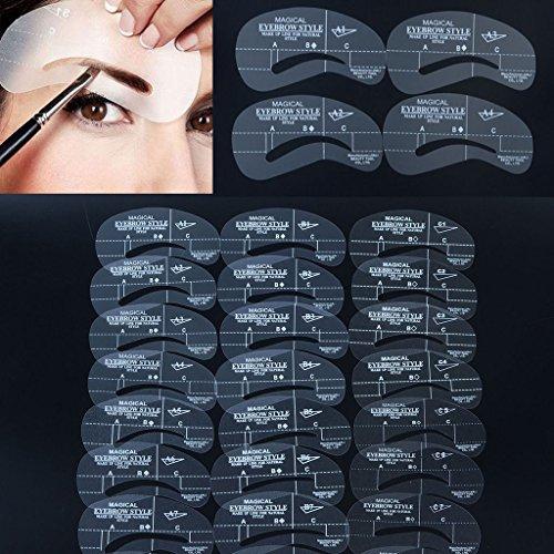 Interesting® 24 Stile Augenbraue-Schablonen Augenbrauen Formen Kit DIY Make-up Shaper Zeichnung Guide-Karte eingestellte Vorlage Tool Pflege