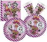 Procos 10133068 L.O.L. - Juego de Accesorios para Fiesta de cumpleaños Infantil Surprise, Multicolor