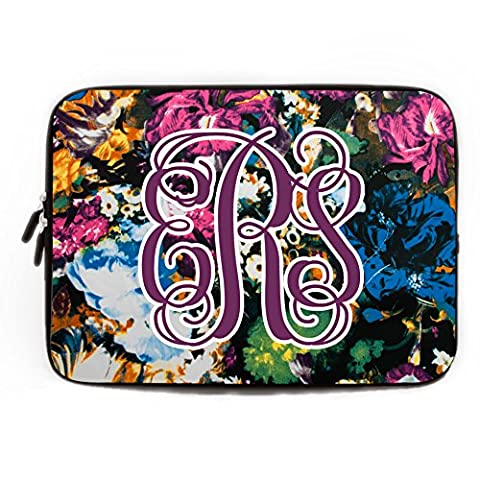 Rustic Floral Computer Sleeve with Name Personalized 11.6-12 Inch Computer Case for Laptop for Apple MacBook Acer Samsung Ultrabook Asus Fujitsu Trendy Flower Laptop Sleeve for