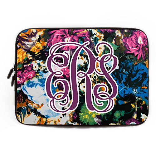 Rustic Floral Computer Sleeve with Name Personalized 11.6-12 Inch Computer Case for Laptop for Apple MacBook Acer Samsung Ultrabook Asus Fujitsu Trendy Flower Laptop Sleeve for Women