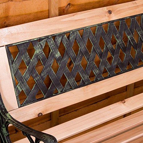 Garden Vida Garden Bench, Cross Style Design 3 Seater Outdoor Furniture Seating Wooden Slats Cast Iron Legs Park Patio Seat