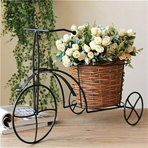 LIGUIHU Soporte de flor para bicicleta, soporte para plantas de metal, estante de almacenamiento para macetas de jardín al aire libre, balcón, sala de estar, estante para macetas, estante de almacenamiento – estante de pie vintage de varias capas
