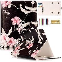Funda Universal, Dteck(TM) Cuero Sintético Funda Protectora con Cierre Magnético y Ranuras para Tarjetas para Galaxy Tab/iPad 9.7/iPad Air/Nexus 9 y Toda Tableta de 9.5-10.5 Pulgadas, Flor Rosa