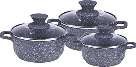 Wonderchef Granite Die-Cast Aluminium Induction Base Casserole Set, 6-Pieces, Grey