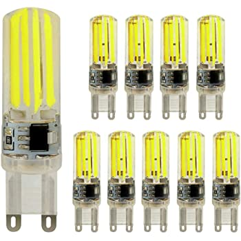ELINKUME Pack de 10 Bombillas LED G9 de 6W No regulable,6000k 400LM,Lámparas Halógenas Equivalentes a 50W, 360 Grados ángulo de Haz Omni Directional,AC ...