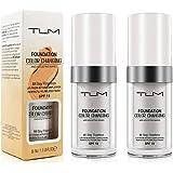 Base De Maquillaje, (2 Piezas) TLM Cubierta De Corrector, Base De Maquillaje De Base De Cambio De Color Impecable, Cobertura