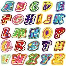 Parches Ropa termoadhesiva, Satkago Parches bordados 26Pcs DIY Alfabeto letra Coser o Hierro en parches