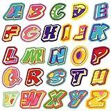 Satkago Bügelbilder, 26 Stück Stickerei-Aufnäher Buchstaben, Aufnäher zum Aufbügeln oder Aufnähen Applikationen für Rucksäcke T-Shirt Jeans Rock Westen Schals Hüte Bekleidung