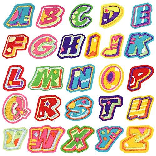 Broderie Patch Thermocollant, Satkago 26Pcs Stickers Lettres Alphabet Ecusson Thermocollant ou Ecusson à Coudre pour Vêtement T-shirt Jeans Veste Sac