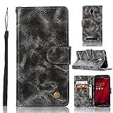 kelman Hülle für ASUS ZenFone Go ZC500TG Hülle Schutzhülle PU Leder + Soft Silikon TPU Innere Schale Brieftasche Flip Handyhülle - [JX02/Grau]