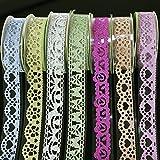 7 rouleaux de ruban adhésif décoratif brillants - Motif dentelle ou floral - Ruban de masking tape pour décoration et créations manuelles.