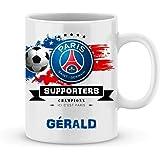 Mug de foot PSG à personnaliser avec votre prénom - Cadeau personnalisé foot ligue1 Paris Saint Germain - Cadeau personalisé