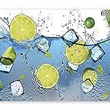 Tapeten Wohnzimmer -Frucht Blaues Wassereis, 350Cmx245Cm - 3D Fototapete Vlies Tapete - Moderne Wanddeko - Design Tapete - Wohnzimmer Schlafzimmer Büro Flur Wandbilder Wandtapete