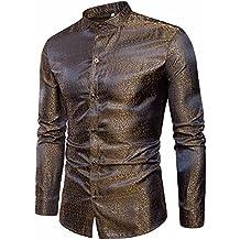 63cba5a0d1c174 Camicia Uomo LandFox Slim Fit Camicia da Uomo Slim Fit Manica Lunga Casual  Button Camicie Formale