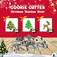 Goolsky Stainless Steel Christmas Cookie Cutter Set Holiday Cookie Cutter Molds Including Christmas Tree Snowflakes Snowman