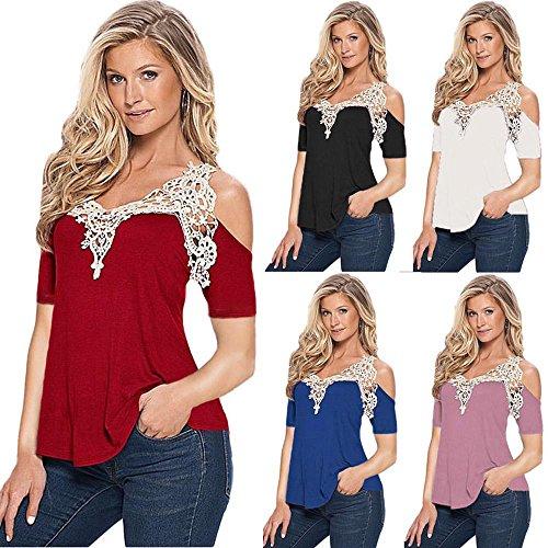 FEITONG Frauen Sommer Spitze Oberseiten Kurzschluss Hülsen Blusen T-Shirt Lila