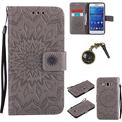 Preisvergleich Produktbild für Galaxy Grand Prime/SM-G530 G531F Hülle, Klappetui Flip Cover Tasche Leder [Kartenfächer] Schutzhülle Lederbrieftasche Executive Design (+Staubstecker ) (5)
