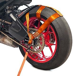 RACEFOXX Hinterrad Abspanngurt, Zurrgurt, Spanngurt, Transportsicherung Gurt für Motorrad, Orange