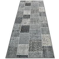 casa pura Patchwork Rug - Runner for Hallway   Monsano   Anthracite 80x200cm   Non-Slip   Vintage Style Pattern Ideal for Kitchen, Bedroom Floor etc
