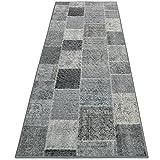 casa pura Tapis Vintage Tapis Patchwork | Polyamide résistant | Entretien Facile | 18 Tailles | Monsano, 80x150cm - Anthracite