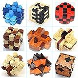 Joyeee 9 Pezzi Set Legno Rompicapo Cube Puzzle Game 3D - Gioco di Mente Cubo #3- Classici Puzzle di Set Per Bambini e Adulti