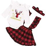 Derclive - Pelele para bebé, 3 piezas, falda de tirantes + diadema de Navidad, color rojo