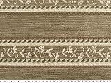 Polsterstoff, Chenille, Streifen-Blumen, natur-braun, 140cm