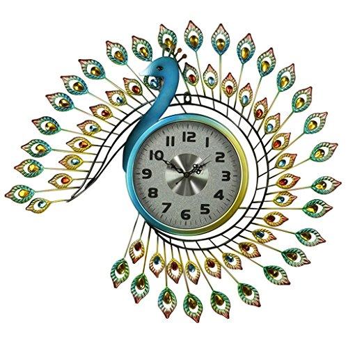 LYYGUAZHONG ZHDC® Mode Uhr Pfau Wanduhr, Uhr Wohnzimmer Stumm Schlafzimmer europäischen Stil Retro kreative Kunst Wanduhr Taschenuhr 65x73cm Hauptwanduhr (Farbe : #3)