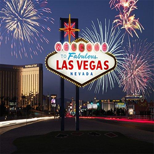YongFoto 2x2m Vinyl Foto Hintergrund Willkommen in Las Vegas Feuerwerk Nacht Fotografie Hintergrund für Fotoshooting Portraitfotos Party Kinder Hochzeit Fotostudio Requisiten
