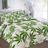 Doppelbett Marihuana Leaf Cannabis Weed Green Print Bettbezug und Kissenbezüge Bettwäsche Bettwäsche Set–Double