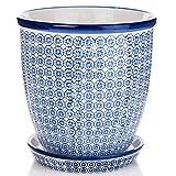 Nicola Spring Pot de Fleur en Porcelaine - avec Soucoupe - Motif Bleu - 20 cm