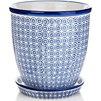 Nicola Spring Porcelain Flower Pot with Drip Tray, 203mm, Blue Print - 203mm