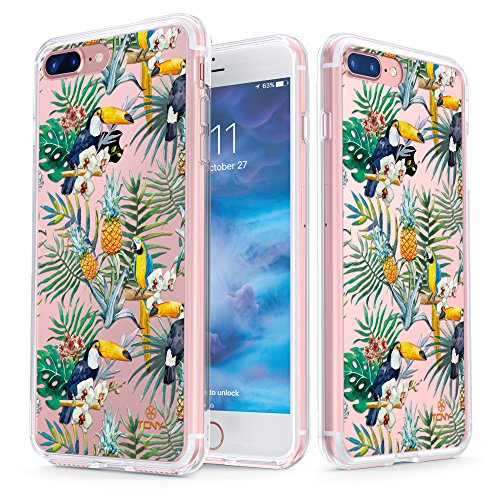 (iPhone 7 Plus Case - True Color Clear-Shield Tropical Jungle Party Printed on Clear Back - Soft and Hard Thin Shock Absorbing Dustproof Full Protection Bumper Cover)