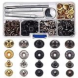 60 Set Kupfer Schnappverschlüsse Druckknöpfe Poppers Kein Nähender Leder Bekleidung Knopf mit 4 Stück Installationswerkzeug (12,5 mm)