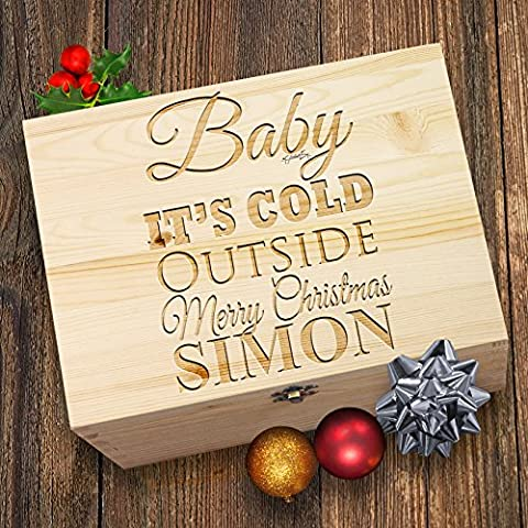 Baby It 's Cold Outside personalisierbar Santa 's Christmas gravierter Box