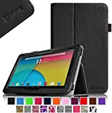 """Fintie Premium PU Leather Case Cover for 10.1-Inch Android Tablet PC inclu. PolaTab 10.1 Inch (Q10.1 / Elite Q10.1 / Elite Q10.2), Fusion5 10.1 Inch (FINITE4 / Xtra SPACE4 / Xtra POWER4), JYJ 10 Inch, Dragon Touch A1/A1X 10.1 Inch, Time2 10.1 Tablet, D2D 10.1 inch Android Tablet, iropro 10.1 Inch Tablet, TONBUX 10.1"""" Tablet, BTC FLAME Q10.1, Tagital T10 10.1"""" Tablet (PLEASE check the complete compatible tablet list under Product Description) - Black"""