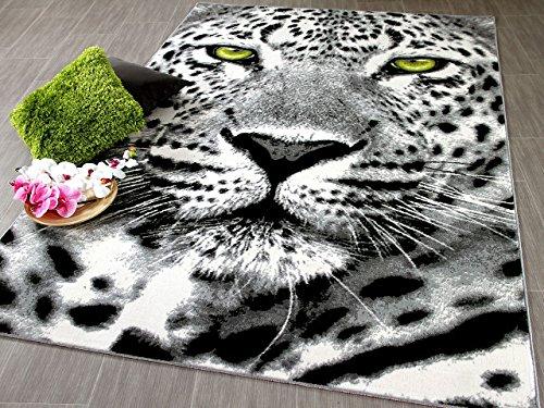 Carat Designer Teppich Gepard Grau Grün in 3 Größen