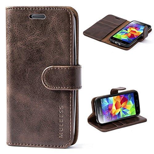 Mulbess Handyhülle für Samsung Galaxy S5 Mini Hülle, Leder Flip Case Schutzhülle für Samsung Galaxy S5 Mini Tasche, Vintage Braun